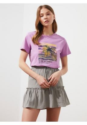 TRENDYOLMİLLA Lilac Printed Basic K..
