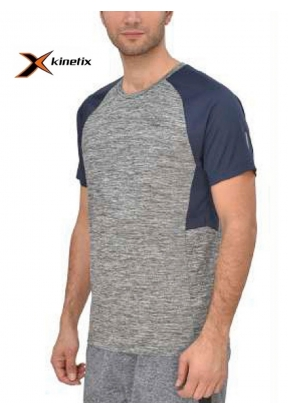 Kinetix Grey Navy Blue Men's T-Shir..
