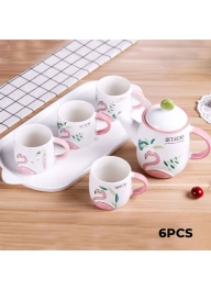 3D Flamingo Ceramic Tea Set 6 Piece..