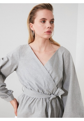 TRENDYOLMİLLA Gray Belted Blouse fo..