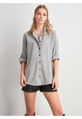 TRENDYOLMİLLA Gray Long Shirt for W..