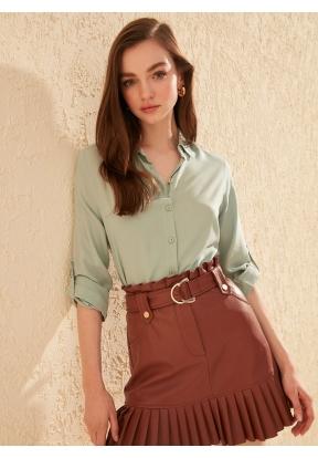TRENDYOLMİLLA Mint Basic Shirt for ..