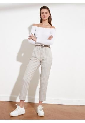 TRENDYOLMİLLA Stone Striped Trouser..