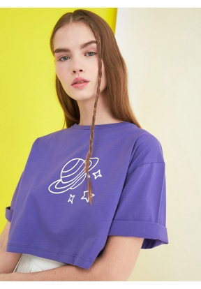TRENDYOLMİLLA Purple Printed Crop K..