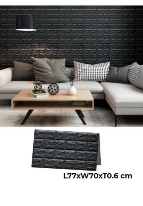 3D Brick Wall Sticker- Black (L77 x..