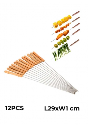 12 PCS Wood Handle Stainless Steel ..