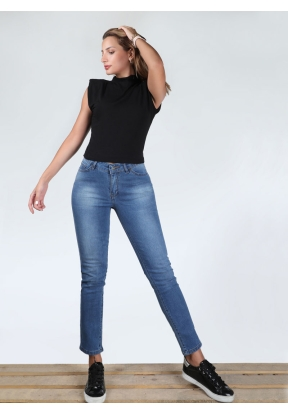 Cropped Blue Skinny Fit Pant Mid Bl..