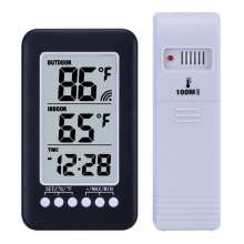 Outdoor Indoor Thermometer Time Clo..
