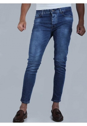 Stretched Navy Blue Skinny Fit Pant..